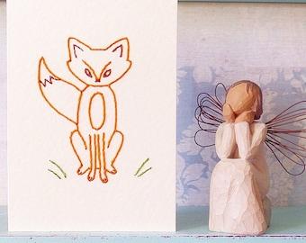 Hand Stitched Fox Card