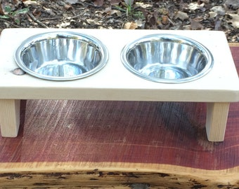 Rustic Elevated Small Pet Dog Cat Bowl Stand Unsealed