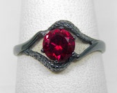 Black Engagement Ring  | 1Ct Blood Red Ruby Eye of IsIs Solitaire In Oxidized Black Sterling Silver Ring Size 4 5 6 7 8 9