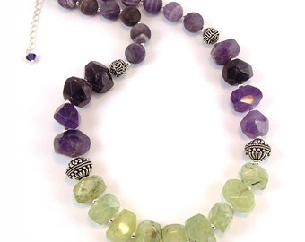 Amethyst and Prehinite Necklace