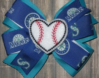 Seattle Mariners Hair Bow / Seattle Mariners Bow / Seattle Mariners Baseball / Seattle Mariners / Seattle Mariners Bows / Mariners Gifts