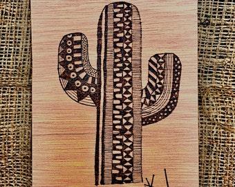 Cactus pyrography wood art