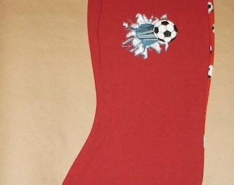 soccer ball Christmas stocking  embroidered design