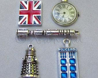 Doctor Who Charm Pendants 5PCs Mix - 5/10/20 Wholesale Tardis, Sonic Screwdriver, Dalek, Watch, British Union Jack Flag Findings CM2010