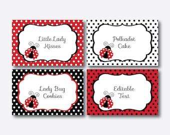Instant Download, Editable Ladybug Food Labels, Ladybug Food Tags, Ladybug Buffet Card, Ladybug Table Tents, Ladybug Party Printable(SKB.03)