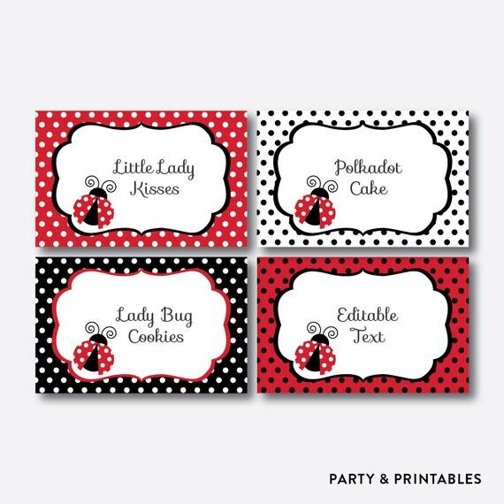 Instant Download Editable Ladybug Food Labels Ladybug Food
