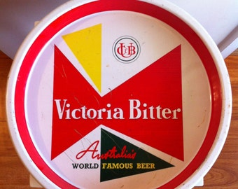 Victoria Bitter drink tray, vintage drink tray, metal tray, old pub tray, vintage 70s drink tray, beer tray