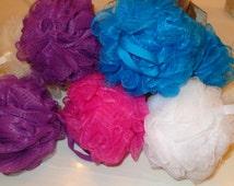10 MINI NYLON POUFS - Assorted colors; Wholesale Pricing! Gift Basket Bath Accessories, Shower Tool, Exfoliating Sponges