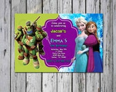 Frozen and Teenage Mutant Ninja Turtle TMNT Birthday Custom Invitation Dual Birthday Party invitation theme