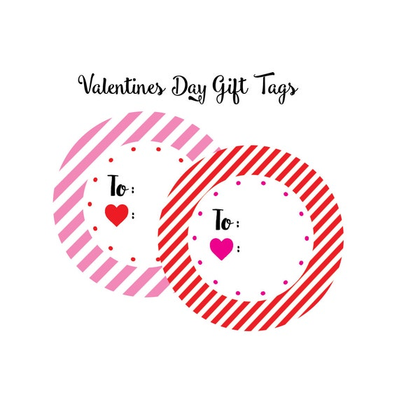valentines treat tag, valentines tag, classroom valentines, pink striped label, red striped tag, gift tag, valentines digital download