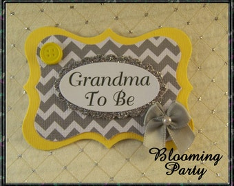 Yellow and Gray Chevron Grandma To Be Corsage Chevron Yellow and Gray Baby Shower Badge Yellow Chevron Baby Shower Badge GrandmaTo Be Pin
