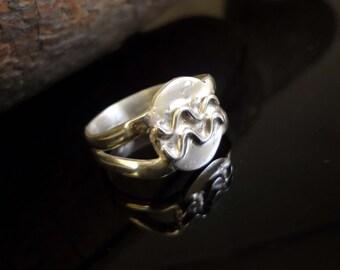 Aquarius Zodiac Style Ring, Handmade, .925 Sterling Silver, SZ- 8.5