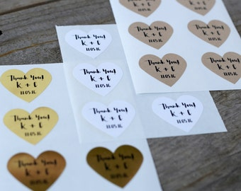 24 Custom Heart Thank You Stickers With Initials and Date - Wedding Stickers and Envelope Seals
