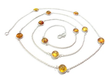 Amber chain necklace, silver bezel chain, silver chain with amber, round amber chain, long chain necklace, wearable as two string necklace