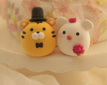 Tiger and  rat  wedding cake topper---Chiness Zodiac wedding cake topper