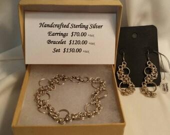 Sterling Silver River Bracelet & Earrings