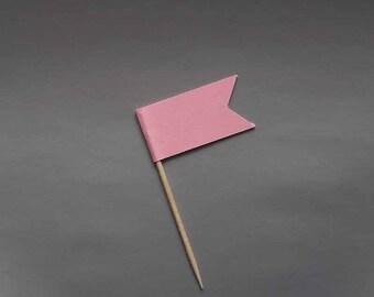 Cake flag, cake topper, food party pick, wedding cupcake flag, decorative toothpick flag, cupcake decoration - 20pcs - pink