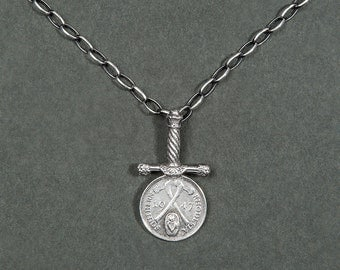 Necklace after war (string and Silver Pendant) / sword and coin