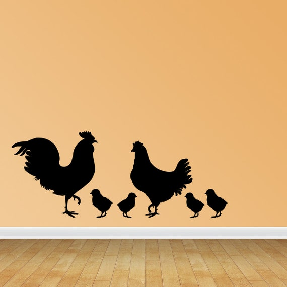Rooster Chicken And Chicks Wall Decals Removable Wall Decal