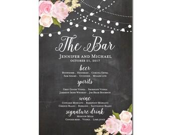 Printable Bar Menu Sign - Wedding Printable Bar Menu Sign - Wedding Bar Menu Poster - Wedding Sign - Wedding Bar Menu - Drink Menu #CL104