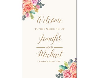 Wedding Welcome Sign, Printable Wedding Sign, Welcome Wedding Sign, Welcome Sign, Welcome Sign Wedding, Reception Sign, Floral Sign #CL173
