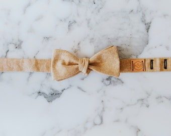 Bow Tie |Chambray Bow Tie| Mustard Bow Tie| Wedding Bow Tie | Mustard Chambray