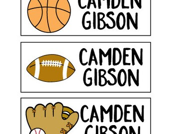 Boy Name Label Stickers – 30 Waterproof Personalized Stickers for Kids for School, Camp or Daycare in Sports Design, Baseball, Basketball