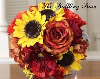 Sunflower, orange, silk, fall, bridal bouquet