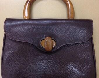 Vintage Calderon Brown Leather and Wood Handbag