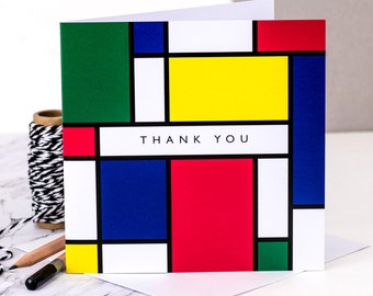 Thank You Card; 'Thank You' Mondrian Style; Card For Art Lover; Artist Card; GC210