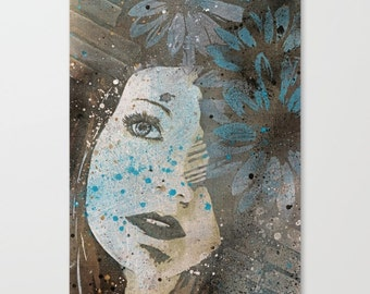 Abstract Painting, Female Portrait, Graffiti Canvas, Spray Paint Art, Floral Painting, Large Wall Art, Wall Decor Daisies 70x50 cm, 28x20 in