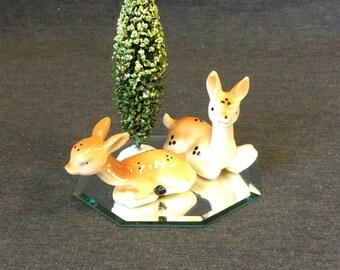 Set of 2 Vintage Ceramic Deer Figurines