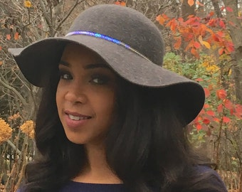 Grey Felt with Wavy Brim Trimmed Band with Aurora Borealis Sequins-Winter Race Hat -Wedding Party Hat -Church Hat -Holiday Hat-Luncheon Hat