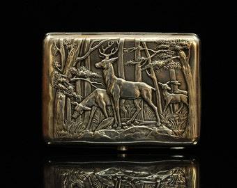 Antique original silver russian amazing animal decorated cigarette case