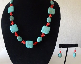 Vintage Native American Turquoise and Coral Necklace with Matching Earrings - FREE SHIPPING
