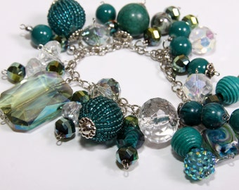 Shades of Teal Chunky Bead and Charm Bracelet