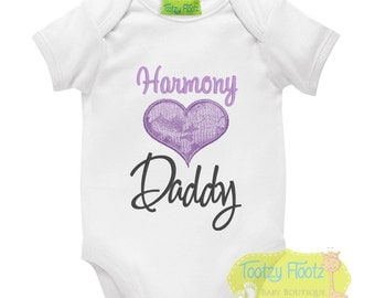 Father's Day Gift - Personalised Purple Lace Heart Onesie / Tee / Bodysuit - First Father's Day / Daddy / 1st Father's Day Gift