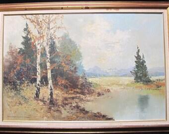 Hans Steiner (b. 1885) Landscape Oil Painting Titled Landscape Series #6 Framed