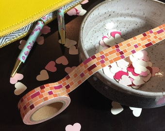 Oranges, brick design washi tape 15 mm x 10 m FULL ROLLS