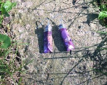 Purple Dyed re-created quartz earrings