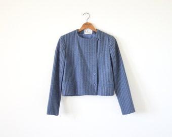 70s crop jacket / stripe coat jacket / KASPER outwear