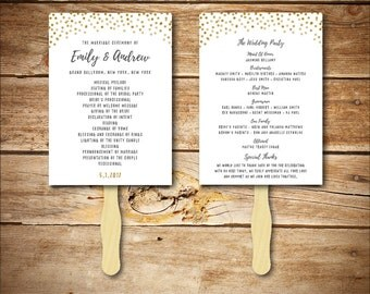 Wedding Program Template - Printable Wedding Program - DIY Wedding Fan Template  - Instant Download - Confetti Collection