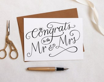 Printable Wedding Card - Congrats to the Mr & Mrs - Wedding Day Card for Bride and Groom - Wedding Gift - Engagement Card - Instant Download