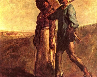 Jean-Francois Millet: Going to Work. Fine Art Print/Poster (00713)