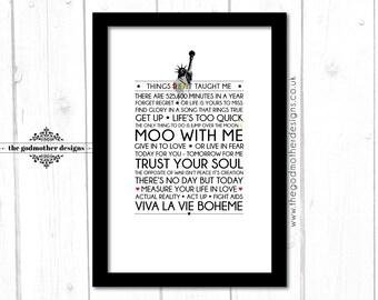Rent - Broadway Musical -  Quotes & Lyrics - Typography - PRINT