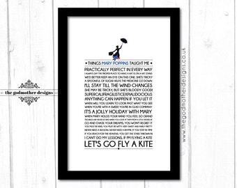 Mary Poppins - Disney Typography Print - Quotes & Lyrics - PRINT