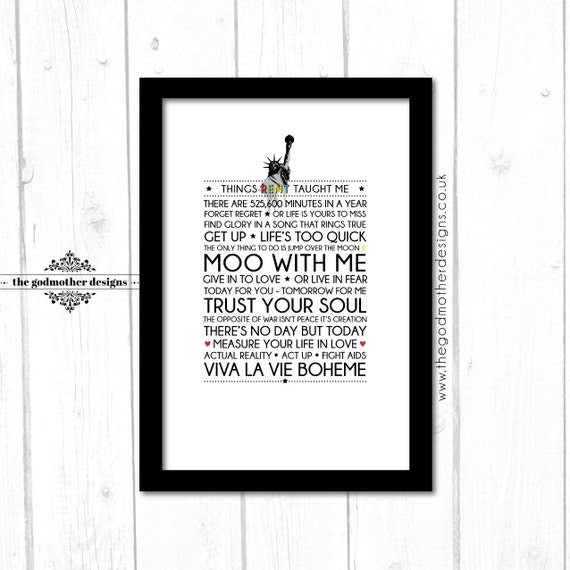 Rent Quotes Best Rent Broadway Musical Quotes & Lyrics Typography