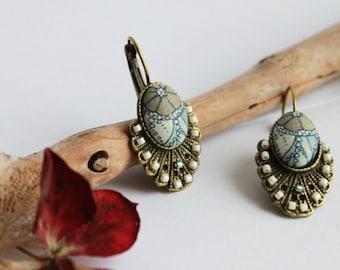 Rhinestone iuminous earrings retro citrus beige and pastel blue liberty fabric cabochon