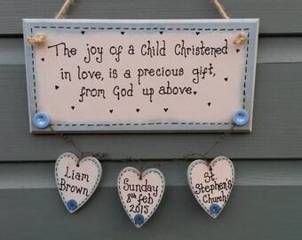 Christening gift, new baby gift, christening plaque, baby boy christening, baby girl christening