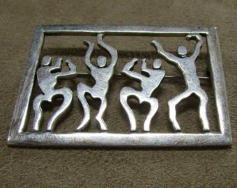 Sterling Silver Four Dancing Figures Brooch